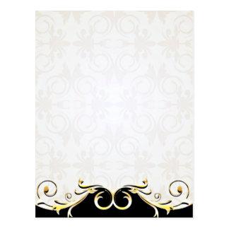 Elegant Golden Yellow Swirls Postcard