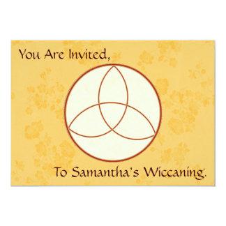Elegant Golden Yellow Triquetra Wiccaning/Saining Card