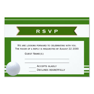Elegant Golf Theme RSVP Wedding Invitation Card