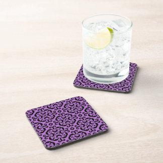 Elegant goth damask black and purple beverage coaster