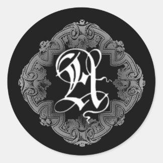 Elegant Goth Initial A Sticker
