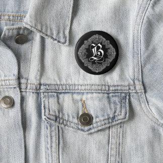 Elegant Goth Initial B Pinback Button
