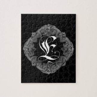 Elegant Goth Initial E Jigsaw Puzzles
