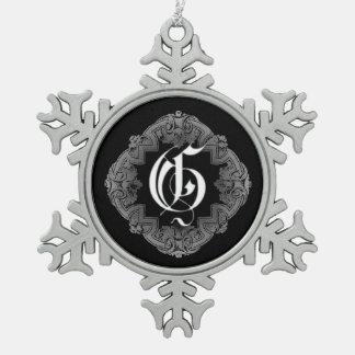 Elegant Goth Initial G Snowflake Ornament
