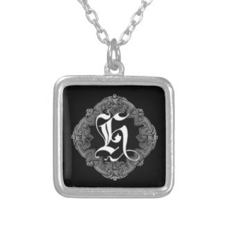 Elegant Goth Initial H Silver Plated Necklace
