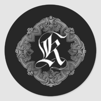 Elegant Goth Initial K Sticker