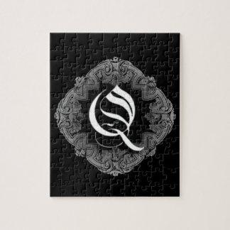 Elegant Goth Initial Q Jigsaw Puzzle