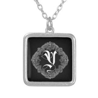 Elegant Goth Initial Y Square Pendant Necklace