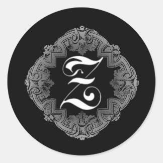 Elegant Goth Initial Z Sticker
