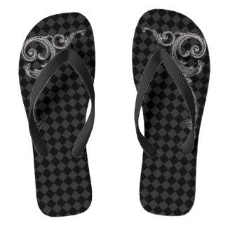 Elegant Goth Swirl Design Flip Flops