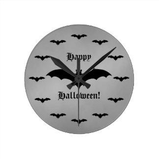 Elegant gothic bat Happy Halloween black and gray Round Clock