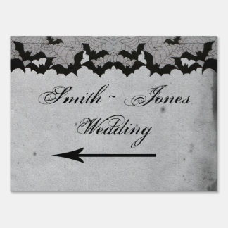 Elegant Gothic Bat Lace Posh Direction Sign