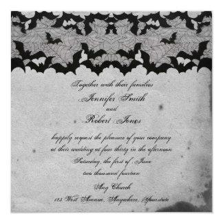 Elegant Gothic Bat Lace Posh Wedding Invitation