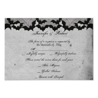 Elegant Gothic Bat Lace Posh Wedding Response Card Invites