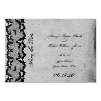 Elegant Gothic Bat Lace Posh Wedding Save the Date Card