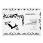 Elegant Gothic Black and White Halloween Party Invitations
