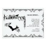 Elegant Gothic Black and White Halloween Party Invitations