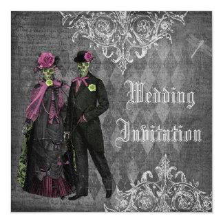 Elegant Gothic Bride & Groom Skeletons Wedding Invitation