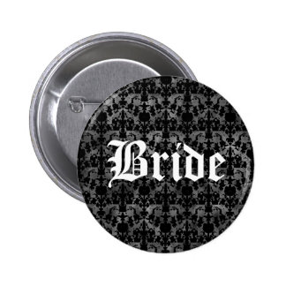 Elegant gothic bride pinback button
