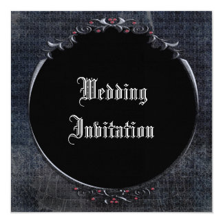 Elegant Gothic Cobwebs Frame Linen Wedding Invites