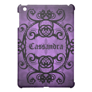Elegant gothic damask purple and black decor case for the iPad mini