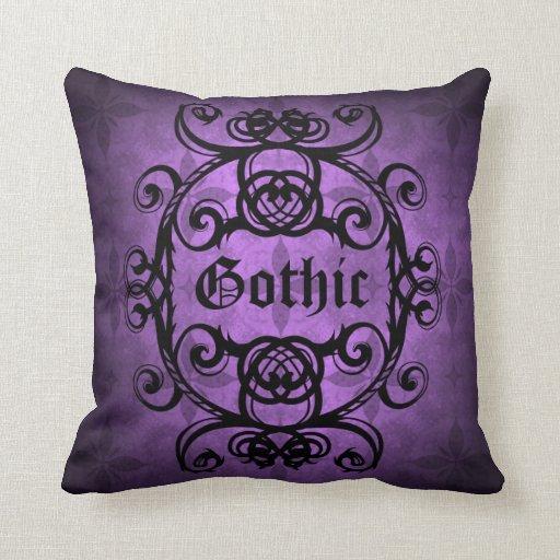Elegant Gothic Damask Purple And Black Decor Throw Pillow