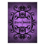 Elegant gothic damask purple and black party announcement