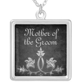 Elegant gothic dark romance mother of the groom silver plated necklace