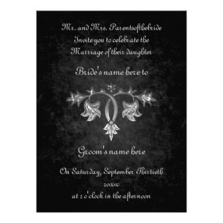 Elegant gothic dark romance wedding 6 5 x 8 75 personalized invite
