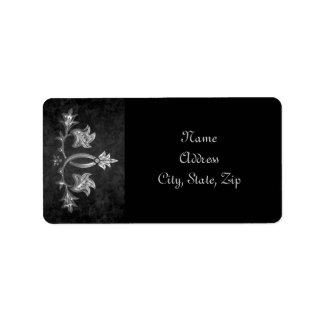 Elegant gothic dark romance wedding address address label