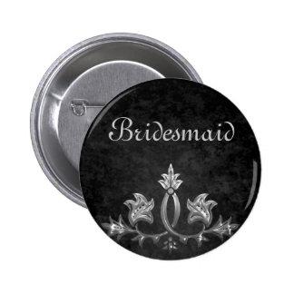 Elegant gothic dark romance wedding Bridesmaid Pinback Button