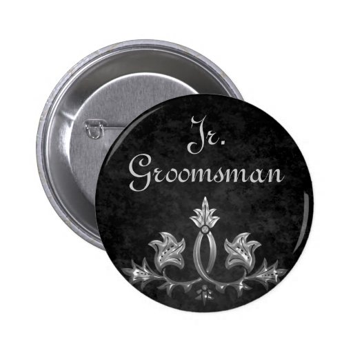 Elegant gothic dark romance wedding Jr. Groomsman 2 Inch Round Button