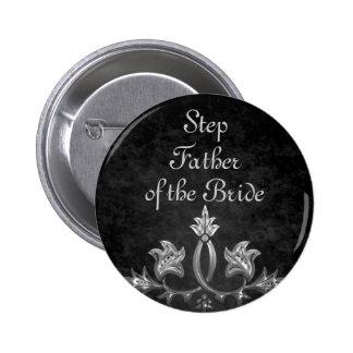 Elegant gothic dark romance wedding Step Father 2 Inch Round Button
