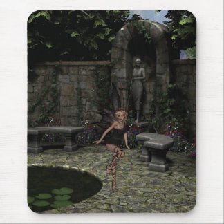 Elegant Gothic Fairy in Summer Garden Mouse Pad