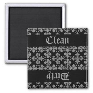 Elegant gothic fleur de lis damask clean dirty 2 inch square magnet