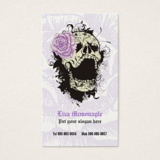 Elegant gothic grunge skull & purple rose custom business card
