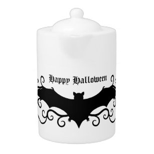 Elegant Gothic Halloween bat and swirls Teapot