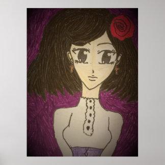 Elegant Gothic Lolita Portrait Art Print Poster