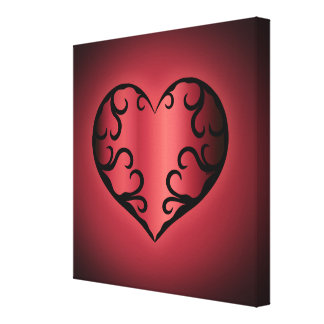 Elegant gothic pinkish reddish Valentine heart Canvas Print