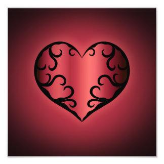 Elegant gothic pinkish reddish Valentine heart Photo Print