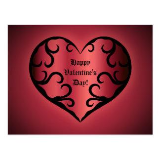 Elegant gothic pinkish reddish Valentine heart Postcard