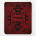 """Elegant gothic vampire damask red and black decor mouse pad<br><div class=""""desc"""">A gorgeously romantic dark red and black damask motif in black on a dark red background and the word &quot;Vampire&quot;. Shown here on a mouse pad. This may turn out darker than shown here.</div>"""