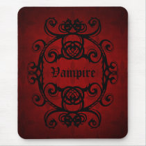 Elegant gothic vampire damask red and black decor mouse pad
