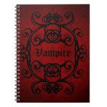 Elegant gothic vampire damask red and black spiral notebooks