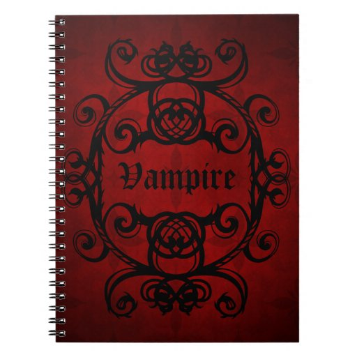 Elegant gothic vampire damask red and black notebook
