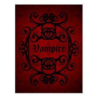 Elegant gothic vampire damask red and black postcard
