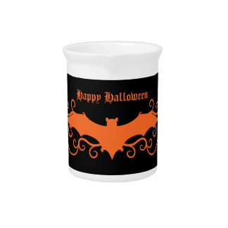 Elegant gothic victorian bat in orange on black drink pitcher