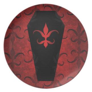 Elegant gothic victorian coffin red Halloween Plate