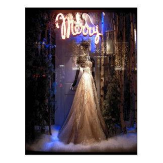 Elegant Gown NYC Holiday Window Display Postcard