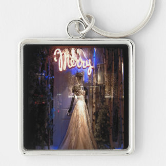 Elegant Gown NYC Holiday Window Display Silver-Colored Square Keychain